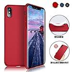 iPhone X ケース 薄型 高品質PC 全面保護 「艶消しの硬いケース」指紋防止 耐衝撃カバー iPhoneX ケース Meidu -赤