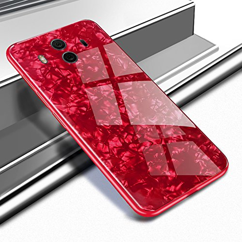 Huawei Mate10ケース、人気 強化ガラス 貝殻のテ...