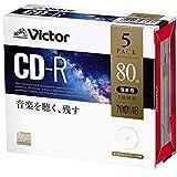 ビクター Victor 音楽用 CD-R 80分 5枚 ホワイトプリンタブル AR80FP5J1