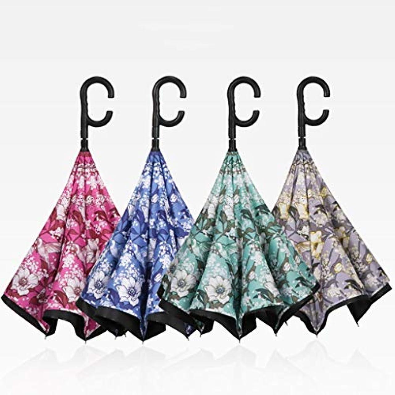 失われた大西洋毒性倒立傘、防風傘、逆傘、UVカット、逆さ傘、C型ハンドル (Color : Blue)