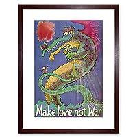 Political Love War Peace Dragon Mouse Flower Framed Wall Art Print 政治愛戦争平和ドラゴン花壁