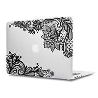 女性のファッション MacBook Air 13 ケース Batianda かわいいレース柄 つや消しハードカバー 保護ケース MacBook Air 13.3 インチ2015 early (型番:A1466/ A1369)-透明