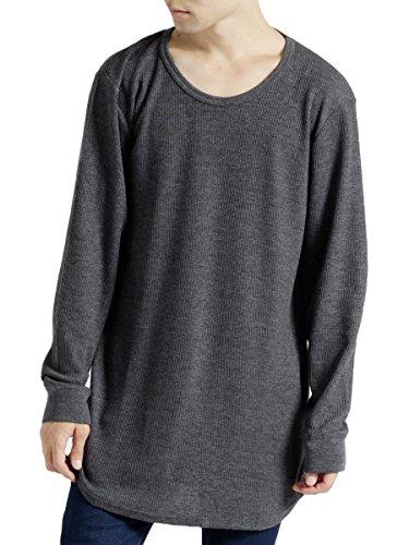 (モノマート) MONO-MART ワッフル ロング丈 Uネック プルオーバー カットソー Tシャツ ロングスリーブ メンズ