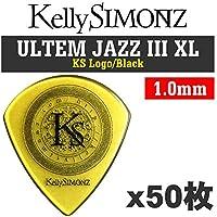 【50枚セット】Kelly SIMONZ ケリーサイモン オリジナルピック KSJZ3-100 ウルテム JAZZ III XL 1.00mm KS ロゴ/Black