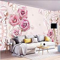 Xbwy カスタム壁紙3Dステレオロマンチックピンクローズパールジュエル背景壁の壁画のリビングルームの結婚式の家-150X120Cm