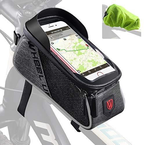 Tricodale フレームバッグ トップチューブバッグ 自転車用スマホバッグ スマホ収納 大容量 完全防水 取り付け簡単 防水カバー付き フロントバッグ