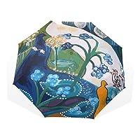 AyuStyle 折りたたみ傘 日傘 手動開閉 かわいい peacock 動物 孔雀 クジャク 孔雀の羽 鳥 ピーコック 長いかざり羽 面白い 晴雨兼用 紫外線防止 完全遮光 傘袋付き 8本骨 レディース ユニーク おしゃれ 三つ折り