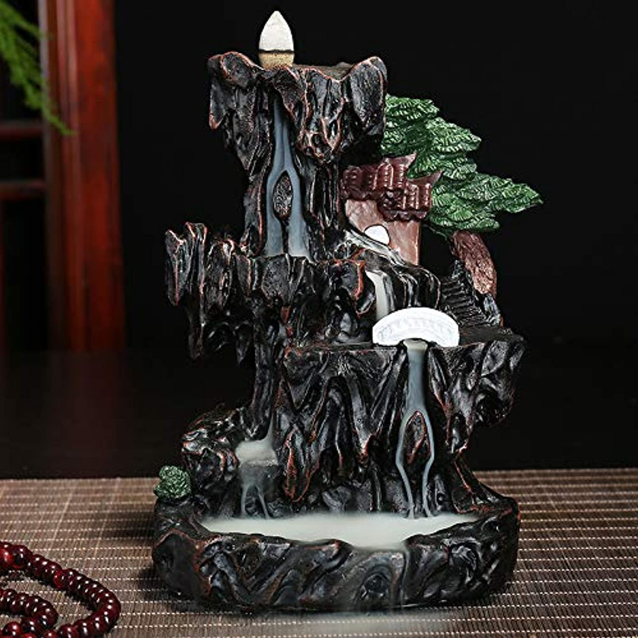 有名な遅い下品PHILOGOD 香炉 樹脂材料マウンテンリバー風景逆流香炉 香皿 香立てホームデコレーション