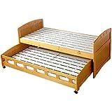 タンスのゲン 親子ベッド シングル すのこベッド 耐荷重120㎏ 天然パイン材 カントリー調 キャスター付き スライド式 キッズ 子供用 ナチュラル 4960000300