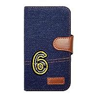 sslink SC-02H/SCV33 Galaxy S7 edge ギャラクシー ケース 手帳型 ナンバー 6 キラキラ ワッペン 背番号 数字 デコ 可愛い おしゃれ デニム(インディゴ) 生地 布 ファブリック カード収納 フリップ カバー スマートフォン
