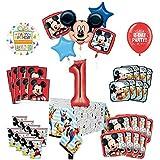 Mayflower Products ミッキーマウスと友達 1歳の誕生日パーティー用品 16ゲストデコレーションキットとバルーンブーケ