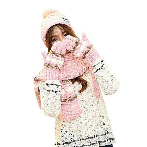 DRASAWEE(JP)秋冬 レディース ニット帽子 マフラー 手袋 3点セット カワイイ ポンポン付き 防寒保温 プレゼント ギフト ピンク