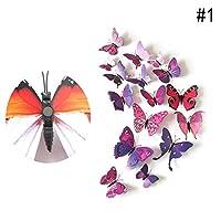 Nice Days(ナイス ディズ)蝶 3D立体 冷蔵庫クリップ マグネット 磁石付き 装飾 12 個セット 6色が選べる (紫)