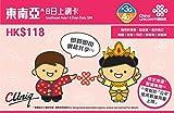 【中国聯通香港】東南アジア 11ヶ国 8日間 データ SIMカード