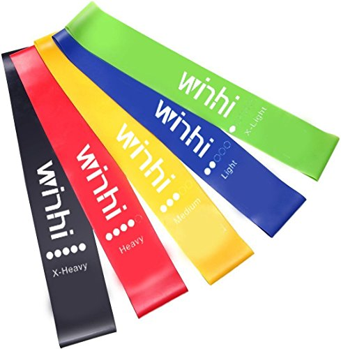 Winhi エクササイズバンド ループバンド トレーニング チューブ 強度別5本セット