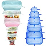 [12Pack] longzon 12pcs Silicone Stretch Lids Square, Reusable Durable Rectangular Food Storage Covers for Bowls, Cups, Cans,