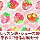 イチゴ柄 いちご柄 イチゴ いちご 柄 レッスンバッグ シューズバッグ の 手作り材料セット (シューズ袋の大きさ:小) (作り方付き) (画像に詳細説明)