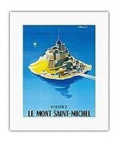 モン・サン・ミッシェルをご覧ください - ノルマンディー、フランス - ビンテージな世界旅行のポスター によって作成された ベルナール・ヴィユモ c.1955 - キャンバスアート - 28cm x 36cm キャンバスアート(ロール)