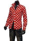 ドット シャツ ドット柄 シャツ メンズ 水玉 ドレスシャツ 日本製 長袖 7分袖 七分袖 半袖 804032 赤[長袖] LL