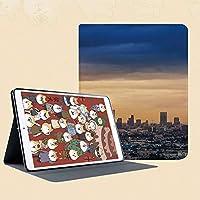 印刷者iPad Mini ケース クリア iPad Mini2 ケース レザー PU iPad Mini3 ケース 軽量 スタンド機能 傷つけ防止 オートスリープ ハード二つ折 ロサンゼルスの都市建築の静かな風景壮大な空の日の出