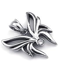 [テメゴ ジュエリー]TEMEGO Jewelry メンズキュービックジルコニアステンレススチールヴィンテージペンダントバタフライノットネックレス、ブラックシルバー[インポート]