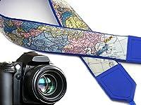 北アメリカカメラストラップ。ヨーロッパ。アジア。ワールドマップカメラストラップ。明るいブルーDSLR/SLRカメラストラップ。耐久性、ライト重量とWellパッド入りカメラstrap.コード00277