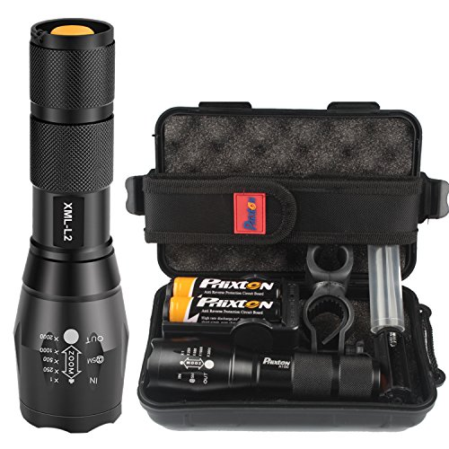 Phixton XML L2 LED アウトドア 懐中電灯1200ルーメン T6よりもっと明るい 調節可能な焦点距離 IPX6防水防災 18650充電式バッテリー 充電器(2次電池とのデュアル充電器)