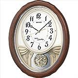 セイコー 木枠18曲メロディー電波時計 AM257B 【時計 からくり時計 掛け時計 電波時計 インテリア とけい アナログ 楕円形】