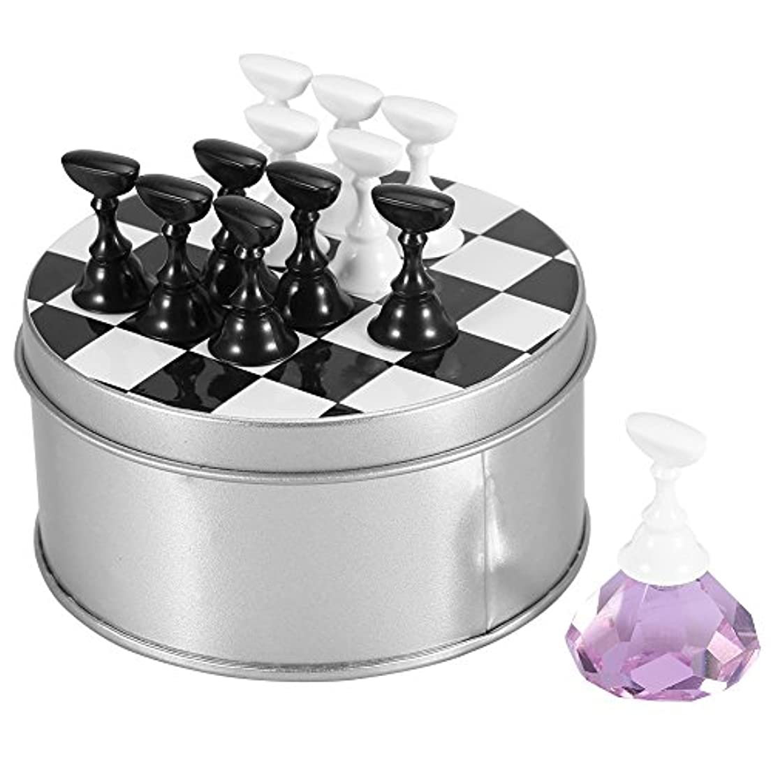 正確さ重要性スイチェスボード磁気ネイルアートスタンド?アクリル釘のヒントディスプレイホルダーセット 4色選択(ピンク)