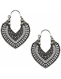 Efulgenz Oxidized Silver Hoops Boho Vintage Retro Tribal Tibetan Gypsy Dangle Indian Bollywood Ethnic Earrings Love Gift