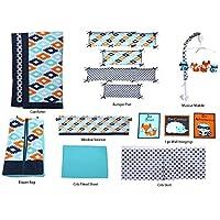 Bacati Liam Aztec 10 Piece Nursery-in-a-Bag Cotton Percale Crib Bedding Set with Bumper Pad, Aqua/Orange/Navy [並行輸入品]