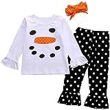 UNIQUEONE Toddler Girl Christmas Costume Long Sleeve Snowman Top Shirt+Polka Dot Ruffle Leggings+Headband Set