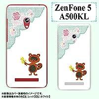 ASUS ZenFone 5 A500KL カバー ケース たぬき レース 花 白 スマホカバーZenFone5 スマホケース スマホカバー ゼンフォン エイスース