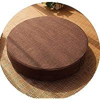クッション丸い畳綿のリネンアート布団和式洗濯クッション瞑想ヨガマット,ブラウン,直径40cm厚6cm