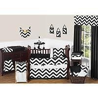 Sweet Jojo Designs 9-Piece Black and White Chevron ZigZag Baby Bedding Zig Zag Gender Neutral Boy or Girl Crib Set [並行輸入品]