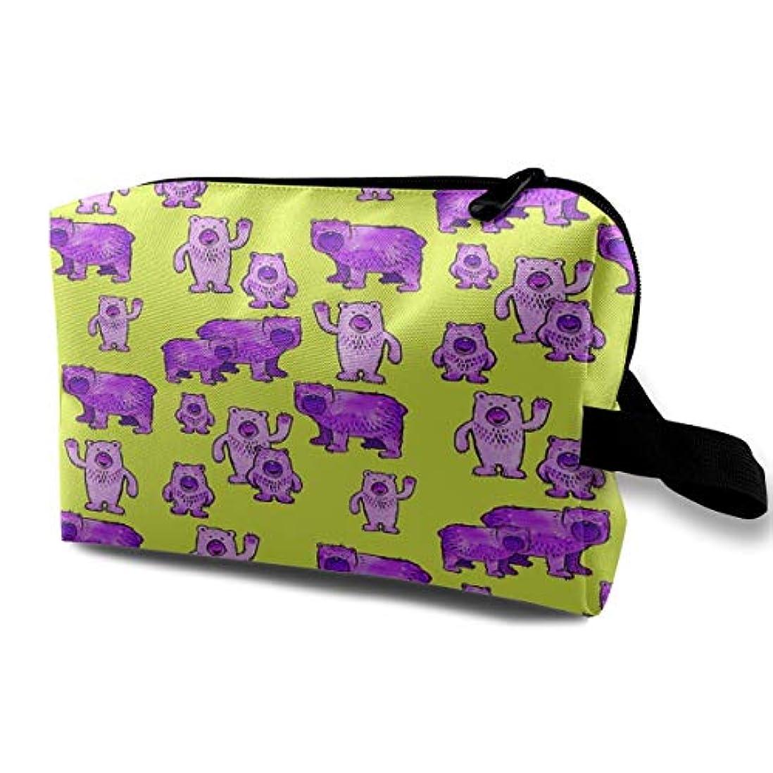 オーディション結び目形式Bears In Purple And Lime Green 収納ポーチ 化粧ポーチ 大容量 軽量 耐久性 ハンドル付持ち運び便利。入れ 自宅?出張?旅行?アウトドア撮影などに対応。メンズ レディース トラベルグッズ