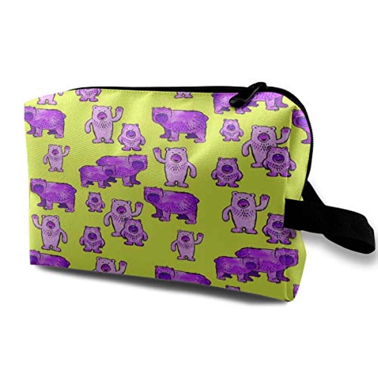 くちばし行列花火Bears In Purple And Lime Green 収納ポーチ 化粧ポーチ 大容量 軽量 耐久性 ハンドル付持ち運び便利。入れ 自宅?出張?旅行?アウトドア撮影などに対応。メンズ レディース トラベルグッズ