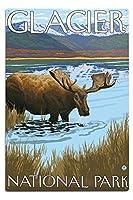 ムースDrinking at Lake–グレイシャー国立公園、MT 12 x 18 Metal Sign LANT-13764-12x18M