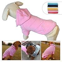 ファッションペットコートコットン基本的な犬のパーカー、犬の服小さな子犬のための子犬のベストの冬のコートコートジャケット、選択のための11のサイズと11の色 Pink XS