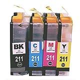 LC211 (PGBK/C/M/Y) 4色セット【顔料ブラック】 [Brother]ブラザー 新互換インクカートリッジLED・残量表示付き (最新型ICチップ付き) 【A.I.S製品】