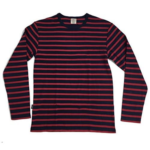 (アヴィレックス)AVIREX DAILY LS CREWNECK BORDER TEE 6143408 34RED レッド M Tシャツ