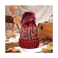 XZBBH 冬のニット帽子、レディースプラスベルベットかわいい防風暖かいウールキャップダークブルー、ブラック、ベージュ、ピンク、グレー、レッド (Color : Red)