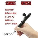 UYIKOO ボールペン型 隠しカメラ ビデオ  録画、録音、写真、防犯証拠撮影 動体検知機能付 最大32GB対応 会議 講義 (シルバー)