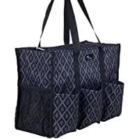 Pursetti Zip-Top Organizing Utility Tote Bag with Multiple Exterior & Interior Pockets for Working Women, Nurses, Teachers and Soccer Moms (Black Trellis_Large)