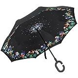 PLEMO 長傘 逆さ傘 逆折り式傘 手離れC型手元 耐風傘 撥水加工 ビジネス用車用 (124センチ) (花眠)