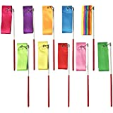 10 Colours 2 Metres Art Artistic Ballet Gymnastic Rhythmic Dance Dancing Ribbons Streamers with Wand Twirling Rod Stick for Kids