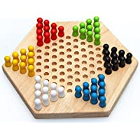 Sasuga 木製 六角 チェッカー ゲーム ボードゲーム 子ども 知育玩具 大人 でも楽しめる 脳トレ おもちゃ (ナチュラル)