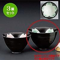 3個セット 飯碗(夫婦) 黒釉桜花ゆったり碗 緑(大) [128 x 80mm] 和食器 料亭 旅館 飲食店 業務用