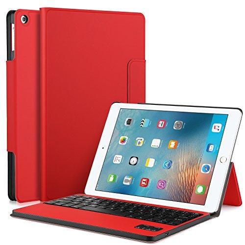 IVSO iPad Pro 10.5インチ ケース,APPLE iPad Pro 10.5インチ キーボードカバー 開閉で自動的 PUレザーケース マグネット着脱可能iPad Pro 10.5インチ 専用 一体型Bluetoothワイヤレスキーボード(レッド)
