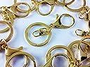 ノーブランド品 ナスカン ゴールド 10個 金 二重リング 回転フック 付き アクセサリーパーツ キーホルダーパーツ (AP0166)